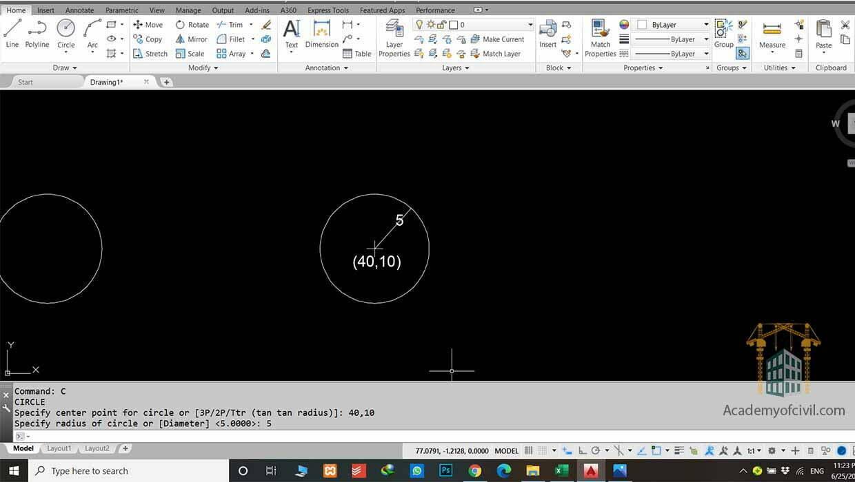 روش اول اجرای دستور Circle در اتوکد