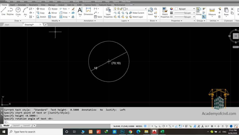 روش دوم کشیدن دایره در اتوکد