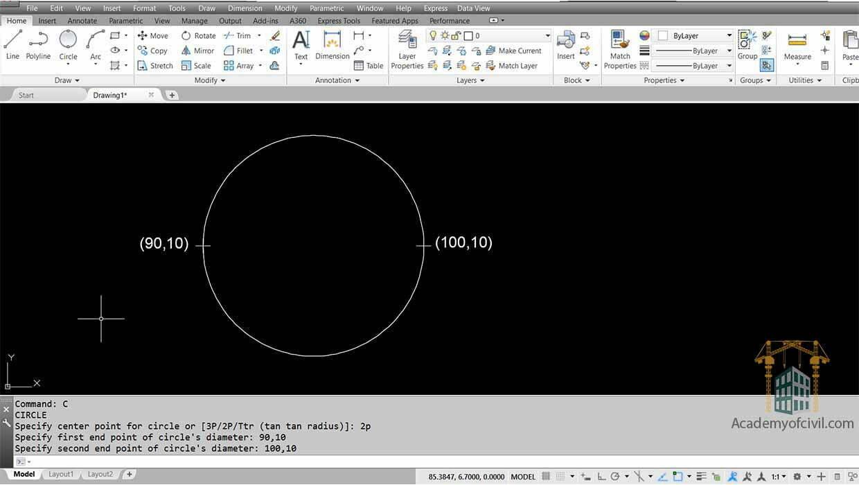 روش سوم اجرای دستور رسم دایره در اتوکد