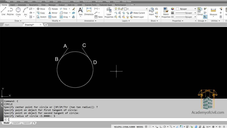 روش پنجم اجرای دستور Circle در اتوکد