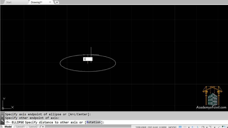 مرحله سوم از روش رسم بیضی در اتوکد به روش Axis,End