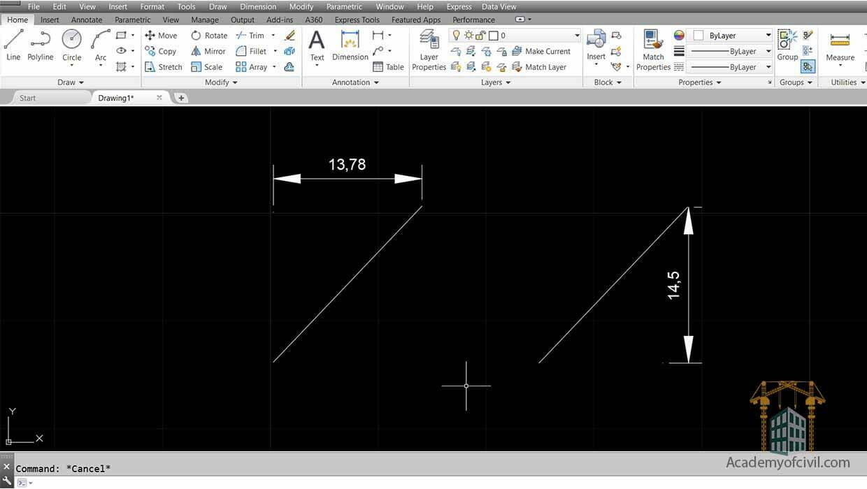 نمایش اندازه ها در اتوکد با استفاده از فرمان Linear