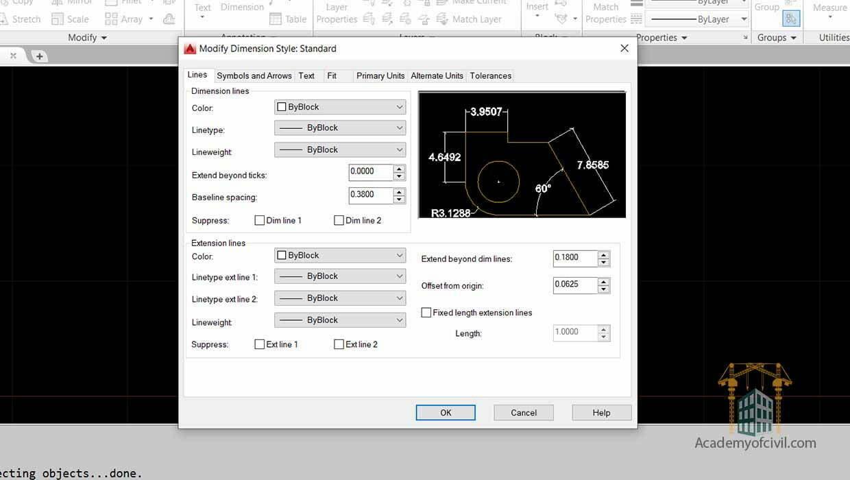 تنظیمات اندازه گذاری در اتوکد با استفاده از Dimension Styles