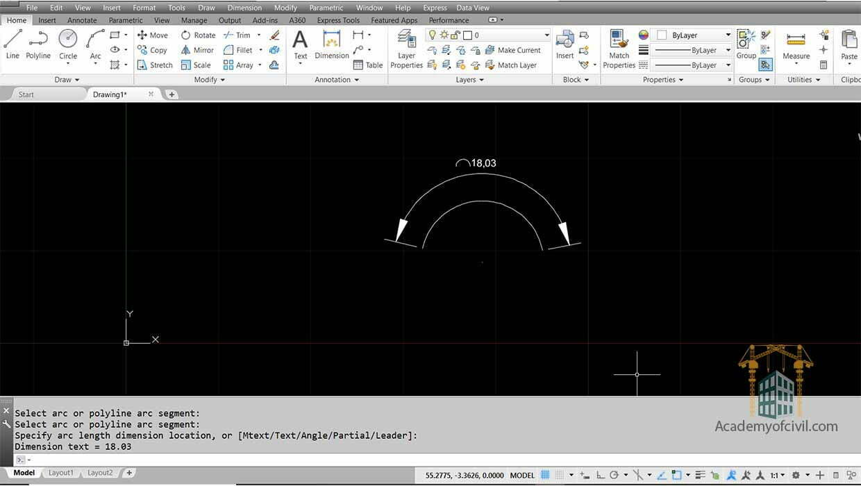 نوشتن اندازه ها در اتوکد با استفاده از فرمان Arc Length