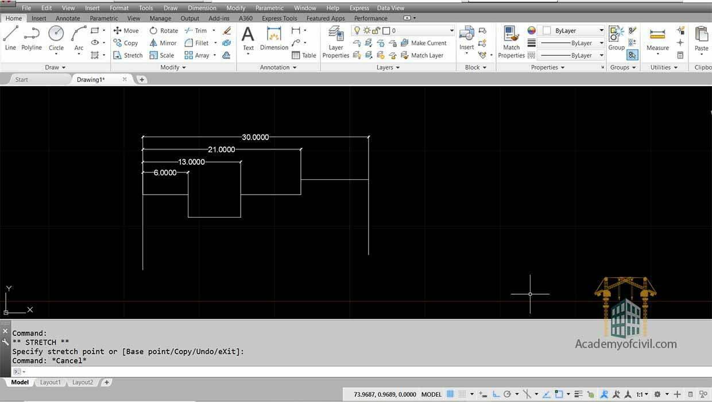 اجرای دستور Dimension در اتوکد با استفاده از Baseline