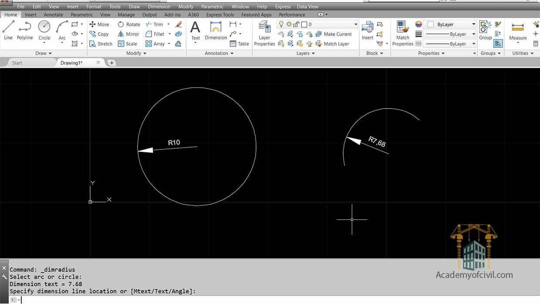 نوشتن اندازه ها در اتوکد با استفاده از فرمان Radius