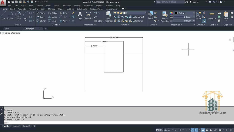 زیر مجموعه continuos در اجرای دستور Quick Dimension در اتوکد