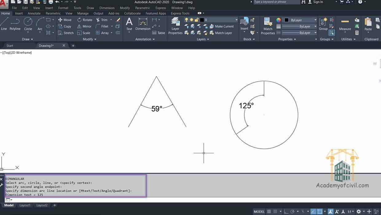 اجرای دستور angular در اتوکد