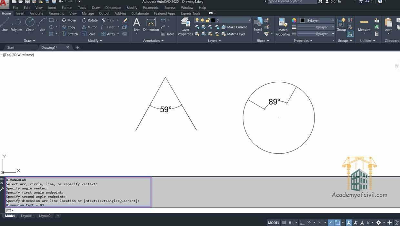اندازه گذاری زاویه در اتوکد با استفاده از زیرمجموعه vertex