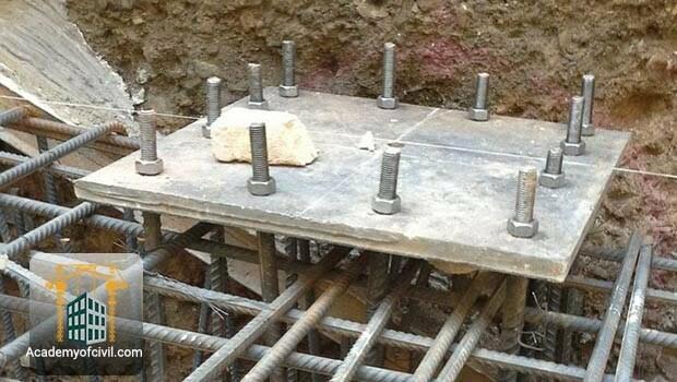 نصب بیس پلیت ، نحوه اتصال ستون فلزی به فونداسیون