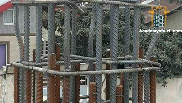 وصله پوششی آرماتورهای طولی در ستون بتنی